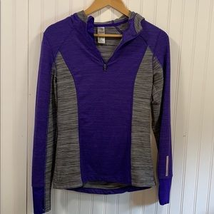 MPG purple hooded quarter zip jacket